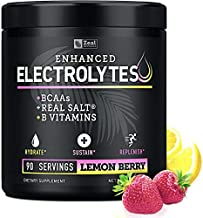 Electrolyte Powder w Real Salt +BCAAs +B-Vitamins (90 Servings   Lemon Berry) Sugar Free Electrolyte Supplement w Potassium Zinc & Magnesium for Complete Hydration & Recovery - Keto Electrolytes
