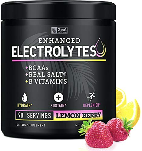 Electrolyte Powder w Real Salt® +BCAAs +B-Vitamins (90 Servings | Lemon Berry) Sugar Free Electrolyte Supplement w Potassium Zinc & Magnesium for Complete Hydration & Recovery - Keto Electrolytes