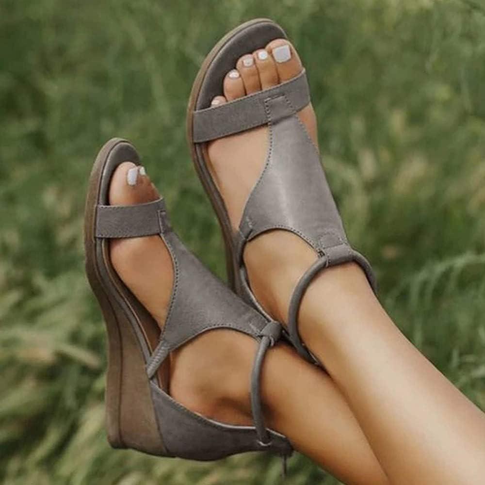 BAIYAN Women's Fashion Wedge Sandals Strap Toe Dedication Ladie Open Popular brand Ankle