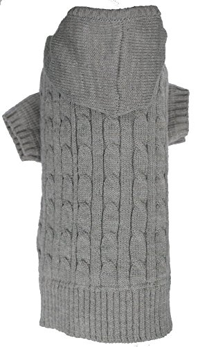 Lanyar Cable Pet Sweater Hoodie for Dogs, Small, Gray