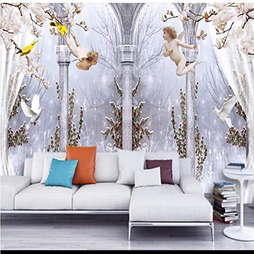 Fotobehang Fotobehang Thuis Aangepast Groot - Schaal muurschilderingen Elegante Engel Romeinse Kolom Duif 3D TV Achtergrond Muur Niet - Geweven Milieu Behang