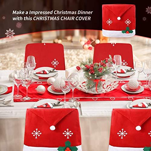 JUSTDOLIFE 4 PCS Cubierta de la Silla de Navidad, 4 PCS Soportes Cubiertos de Muñeco de Nieve de Papá Noel para Decoración de Mesa de Cocina, Nochebuena/Cena-Navidad (Adornos navideños)