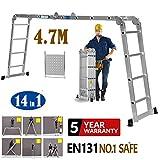 4.7m Aluminium Multi-Function Ladder 15.5ft Multi-Purpose Folding Ladder Extendable Step Ladder with 1 Tool Tray, 4x4 Steps, UK Stock