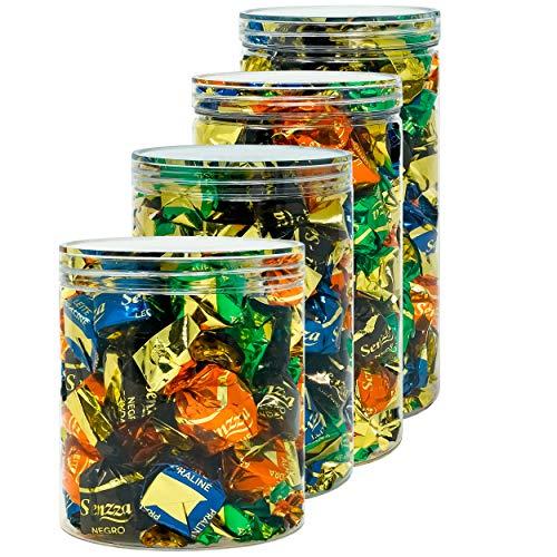 Luxury & Grace Pack 4 Barattoli di Polietilene Alimentare, 0,95 L - 1,1 L - 1,3 L e 1,5 L. Contenitori con Coperchi Trasparente in Polietilene. Reciclabili. Senza BPA.