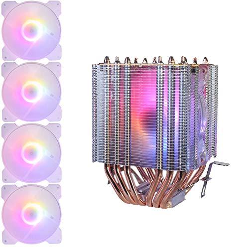ROSELI 6 Tubos de Cobre CPU Radiador Chasis Ventilador IluminacióN SíNcrona 1150AMD1366 2011 LáMpara de Cristal Ventilador úNico + 4X Ventilador del Chasis