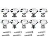 Clear Crystal Glass Cabinet Door Knobs 30mm Diamond Shape Pull Handle with Screw for Kitchen Drawer Wardrobe Cupboard (Clear, 10pcs)