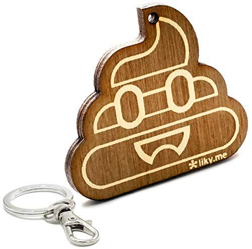 LIKY® Emoji Kackhaufen Poop - Original Schlüsselanhänger aus Holz Gravur Geschenk Damen Herren Geburtstag Hobby Schmuck Anhänger Tasche Rucksack