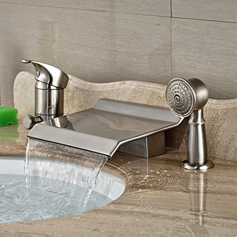 Weit verbreitete Nickel gebürstet 3 Stück Wasserfall Armatur Badewanne mit Handdusche Deck Mount 3 Lcher