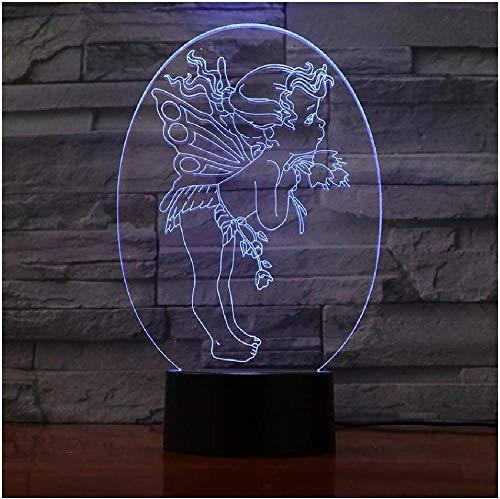 Lámpara LED 3D Mesa de ángel Luz decorativa de cabecera 7 colores cambiantes Niña Niño Niños Bebé Regalos de cumpleaños Usb Luz de noche LED 3D