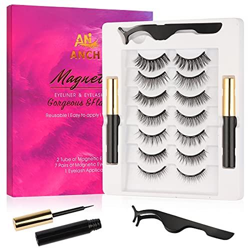 Pestañas Magneticas, 7 Pares de Pestañas Postizas Magnéticas & 2 Botella de Delineador de Ojos Magnético, Reutilizable, Resistente Al Agua y Sin Necesidad de Pegamento