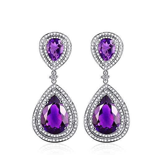 Daesar Pendientes Oro Blanco 18K Mujer,Gota de Agua con Pera Amatista Púrpura 10.6ct Diamante 1.07ct,Plata Púrpura