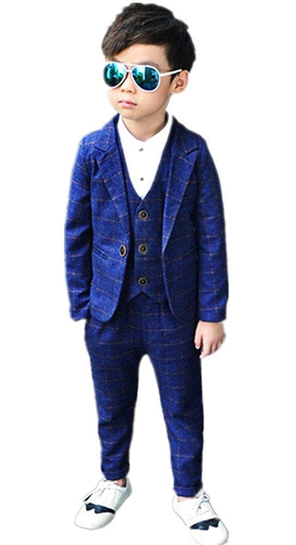 Yunping 男の子 チェック柄 かっこいい フォーマル スーツ 3点セット