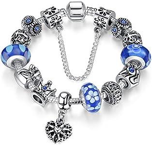 A TE® Charm Pulsera Abalorio Murano Cristal Vidrio Perlas con Cadena de Seguridad Chapado Blanco Oro #JW-B110 (Azul)