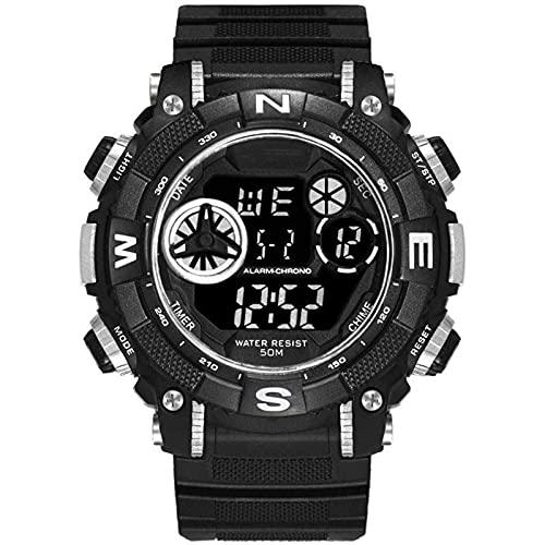 Reloj Deportivo para Hombres, Reloj electrónico multifunción al Aire Libre, Reloj Digital Ocasional Luminoso Impermeable, Esfera Grande, Zona de Deportes multimonial White