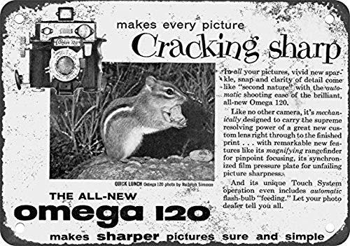 Omega Cameras Cartel de chapa vintage, cartel de cartel de metal, placa de pintura de hierro retro, decoración de pared artística, 12 × 8 pulgadas