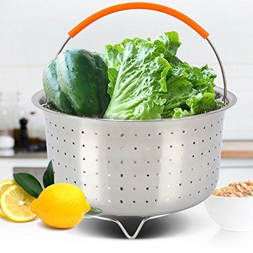 GEZICHTA Dampfgarkorb, Edelstahl Gemüse-Dampfkorb für 6 oder 8 Quart Instant Pot Schnellkochtopf, Dampfgarer Einsatz mit Silikon überzogenem Griff, zum Dämpfen von Gemüse, Früchten, Eiern