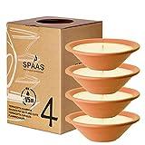 Spaas 4 Gartenkerzen in Terrakotta-Schale, Paraffinwachs Elfenbein, D 230 x H 65 mm