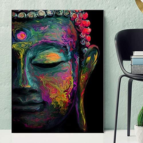 Cuadro de lienzo de pared de Buda, carteles y fotos, pintura moderna y colorida de la cabeza de Buda en el arte de la pared, lienzo, pintura decorativa sin marco para el hogar, M40, 70x100cm
