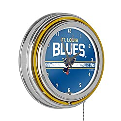 Trademark Global NHL Chrome Double Rung Neon Clock - St. Louis Blues
