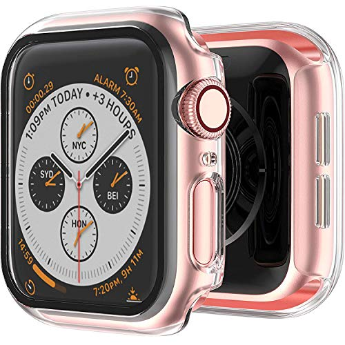 STABILIST Case Compatible with Apple Watch Series 6/SE/Series 5/Series 4 44mm with Built in Tempered Glass Screen Protector- All Around Hard PC Case Overall Protective Cover (Clear)