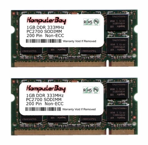 Price comparison product image KOMPUTERBAY 2GB (2x1GB) DDR SODIMM (200 pin) 333Mhz DDR333 PC2700 for Apple Mac Memory PowerBook G4 1.67GHz 17-inch SuperDrive (M9689LL / A) 120 2 GB (2x1GB)