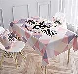 Fansu Mantel de Lino y Algodón Impermeable Antimanchas Rectangular, Impresión de Alce Nórdico Moderno Manteles para Mesa para Hogar Comedor del Cocina (Rosa,100x160cm)