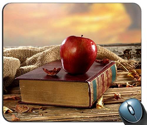 Altes Buch Rotes Apfel-Schreibtisch-Fenster Trockene Blätter Mauspad Anti-Rutsch-Desktop-Mauspad Gaming-Mauspad
