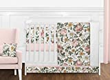 Sweet Jojo Designs Vintage Floral Boho Baby Girl Nursery Crib Bedding Set with Bumper - 9 Pieces - Blush Pink, Yellow, Green and White Shabby Chic Rose Flower Farmhouse