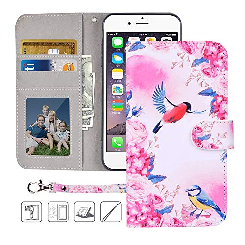 iPhone 6S Wallet Case,iPhone 6 Wallet Case,MagicSky Premium PU Leather Flip Folio Case Cover with Wrist Strap, Card Holder,Cash Pocket,Kickstand for Apple iPhone 6/6S 4.7 inch(Birds Love Flowers)