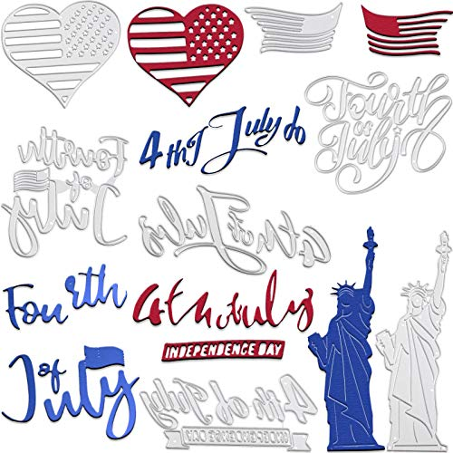 7 Pieces Flag Day Metal Cutting Dies Etched Dies Craft Stencil Embossing Tool Independence Day American Statue of Liberty Stencil Template Mould Dies for DIY Craft Embossing Photo Card Scrapbook Decor