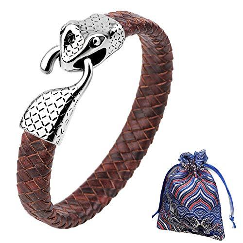 WLXW Colección de Viking Nordic, Pulsera de la Cabeza de Los Hombres Y de Las Mujeres del Acero Inoxidable de la Serpiente, Cuero de la Pulsera Trenzada, Fine Gift, Los 21.5CM,06