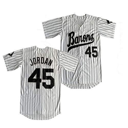 Dexinton Birmingham Barons - Camiseta de manga corta de béisbol (45 micheales), color negro -  Blanco -  Large