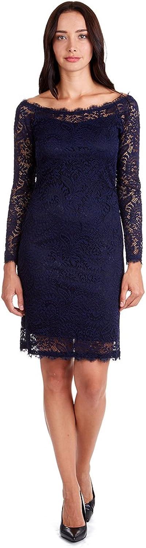 Onyx Nite Women's Long Sleeve Stretch Lace Shift Dress with Eyelash in Crewneck and Hem