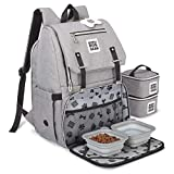 Mobile Dog Gear, Ultimate Week Away Backpack, Includes 2 Food Carriers and 2 Collapsible Silicone Bowls, Heathered Gray