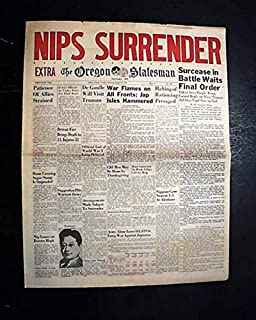 Nice JAPANESE SURRENDER World War II Ends V-J DAY Peace 1945 Old WWII Newspaper THE OREGON STATESMAN, Salem, Aug. 14, 1945