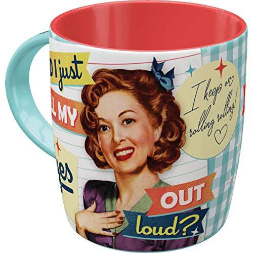 Nostalgic-Art Retro Kaffee-Becher - Say it 50's - Did I just roll my eyes out loud, Große Retro Tasse mit Spruch, Geschenk für Vintage-Fans, 330 ml