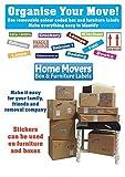 Packen Sie 4-297 Aufkleber ein, um den Umzug zu organisieren (für A 3) Schlafzimmer Haus) - Farbcode ID Aufkleber/Etiketten für Karton Boxen & Möbel