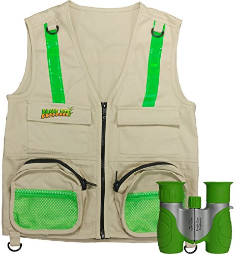 Combination Set: Eagle Eye Explorer Cargo Vest for Kids with Reflective Safety Straps and 8x21 Magnification Binoculars with Soft Rubber Eye Piece for Boys & Girls Waterproof and Shock-Resistant. M/L