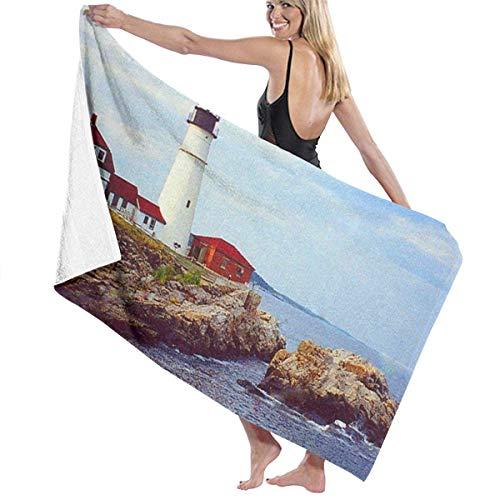 Zhung Ree - Toalla de baño para piscina, paisaje de mar, faro de playa, secado rápido, toalla de baño, ducha infantil, manta ultra suave, tela de viaje para barco, 81,2 x 132,8 cm
