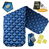 Hitrek Elite 40D - Colchón hinchable de nailon para camping, plegable, compacto, ligero y doble revestimiento de TPU, para senderismo, mochila, hamaca, tiendas de campaña, color azul oscuro