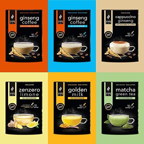 Sconto MultiBox in bustine Solubili - X2 Caffè al Ginseng - X1 Matcha Green Tea - X1 Golden Milk - X1 Zenzero e Limone - X1 Cappuccino al Ginseng ( totale 60 bustine 60 tazze )