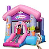 ACTION AIR Bounce House, Princess Fun Bouncy Castle with Air Blower, Inflatable Bounce House for Outdoor and Indoor, Jumping Castle with Slide, for Little Girl (9215P)