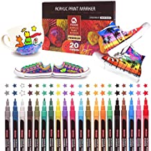 20 Pack Acrylic Markers for Shoes Glass Paint Wood Paint Acrylic Marker 0.7mm Extra-fine Colors for Drawing DIY, Metal, Glass, Wood, Stone, Plastic, Paper, Shoes, Clothes