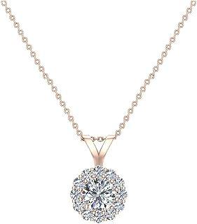 Collana con diamanti Halo, pendente tondo, brillante, estratto in oro 14K (G, SI), qualità extra-ordinaria