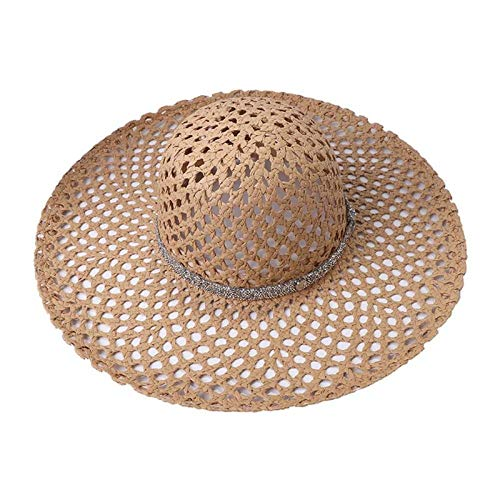 Sombrero De Playa Summer Hollow out Mesh Net Sun Hat Paja Tejida Gran ala Ancha Brillo Cinturón De Cadena De Diamantes De Imitación Panama Beach Cap Khaki