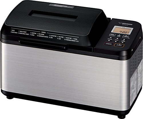 Zojirushi BB-PDC20BA Home Bakery Virtuoso Plus Breadmaker, 2 lb. loaf of bread, Stainless Steel/Black