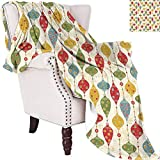 Lovii Christmas Mexican Blanket Hanging Balls in Different Shapes and Colors Designed with Abstract Snowflakes Suitable for Beaches Sofas Decorations Picnics Multicolor 63'x63'