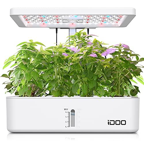 iDOO Smart Garden mit LED Pflanzenlampe, Hydroponisches Anzuchtsystem mit Automatisch Timer, Höhenverstellbar, 12Hülsen Indoor Kräutergarten Kit