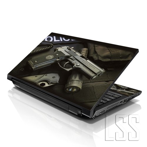 LSS Laptop 15 15.6 Skin Cover with Colorful Police Gun Pattern for HP Dell Lenovo Apple Asus Acer Compaq - Fits 13.3' 14' 15.6' 16' (2 Wrist Pads Free)