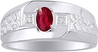 RYLOS خاتم رجالي مع أحجار كريمة بيضاوية الشكل وألماس لامع أصلي من الفضة الإسترليني .925-6X4MM تصميم حجر المولد خواتم